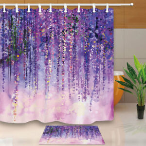 Image Is Loading Wisteria Flower Weeding Waterproof Bathroom Fabric Shower Curtain