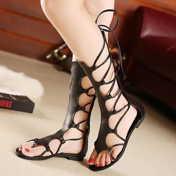 Sandals elegant low heel gladiator like black leather comfortable Elegant CW931