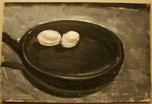 Russian-Ukrainian-Soviet-Oil-Painting-realism-Still-Life-frying-pan-egg-kitchen