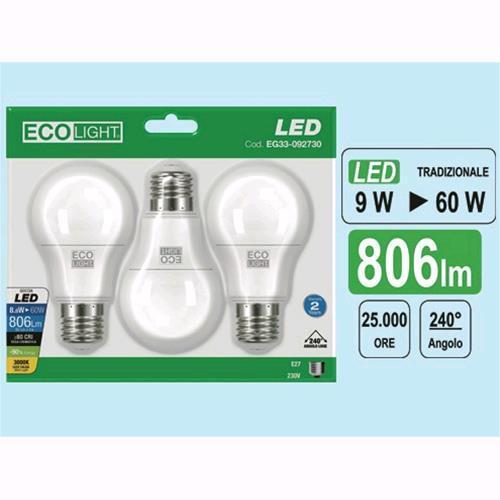 Ecolight Lampada led 9W confezione 3 pezzi e27 3000K Luce Calda