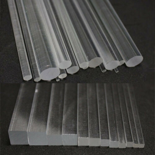 Plastic Acrylic Solid Rod /& Tube Clear Round Square Bar Strip 100//200//300mm Long