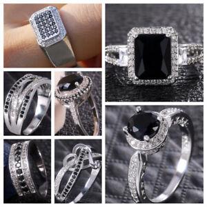 Fashion-Women-Black-Sapphire-925-Silver-Rings-Jewelry-Wedding-Ring-Size-6-10