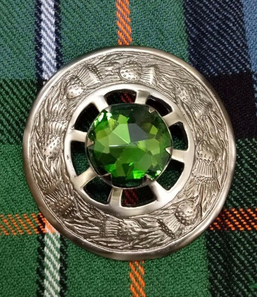 Scottish Fly Plaid Brooch Green Stone Silver Brushed Antique Finish Pin Brooches