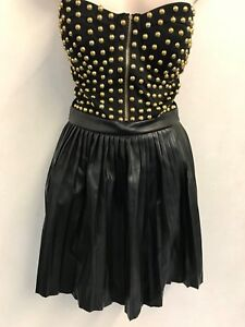 MISSGUIDED-Studded-Faux-Leather-Bandeau-Dress-in-Black-UK8-US4-EU36-ee10