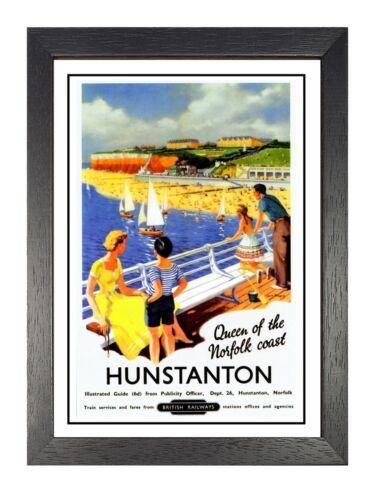 Hunstanton British Railway Vintage Norfolk Coast Print Old Advert A4 Poster