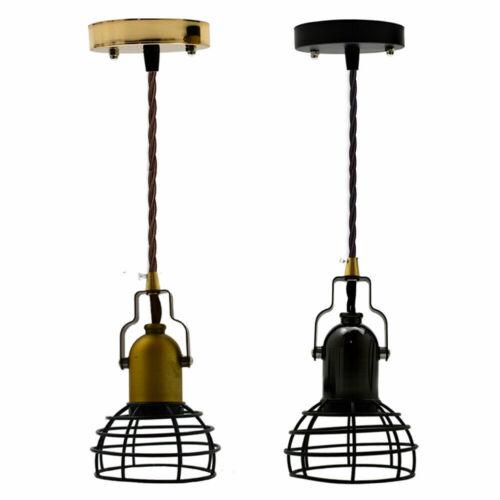 Vintage Industrial style fil métallique petite cage Plafond Lumière Pendentif Lampe Shades
