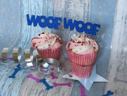 12 X Dog WOOF Pink//Blue//Gold//Silver Glitter Cupcake Pupcake Topper with Pick