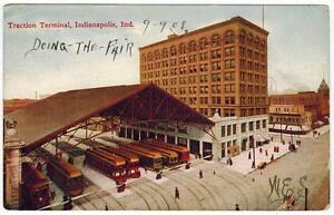 Traction-Terminal-Indianapolis-INDIANA-to-Schuylkill-Haven-PA-1908-Vintage-PC