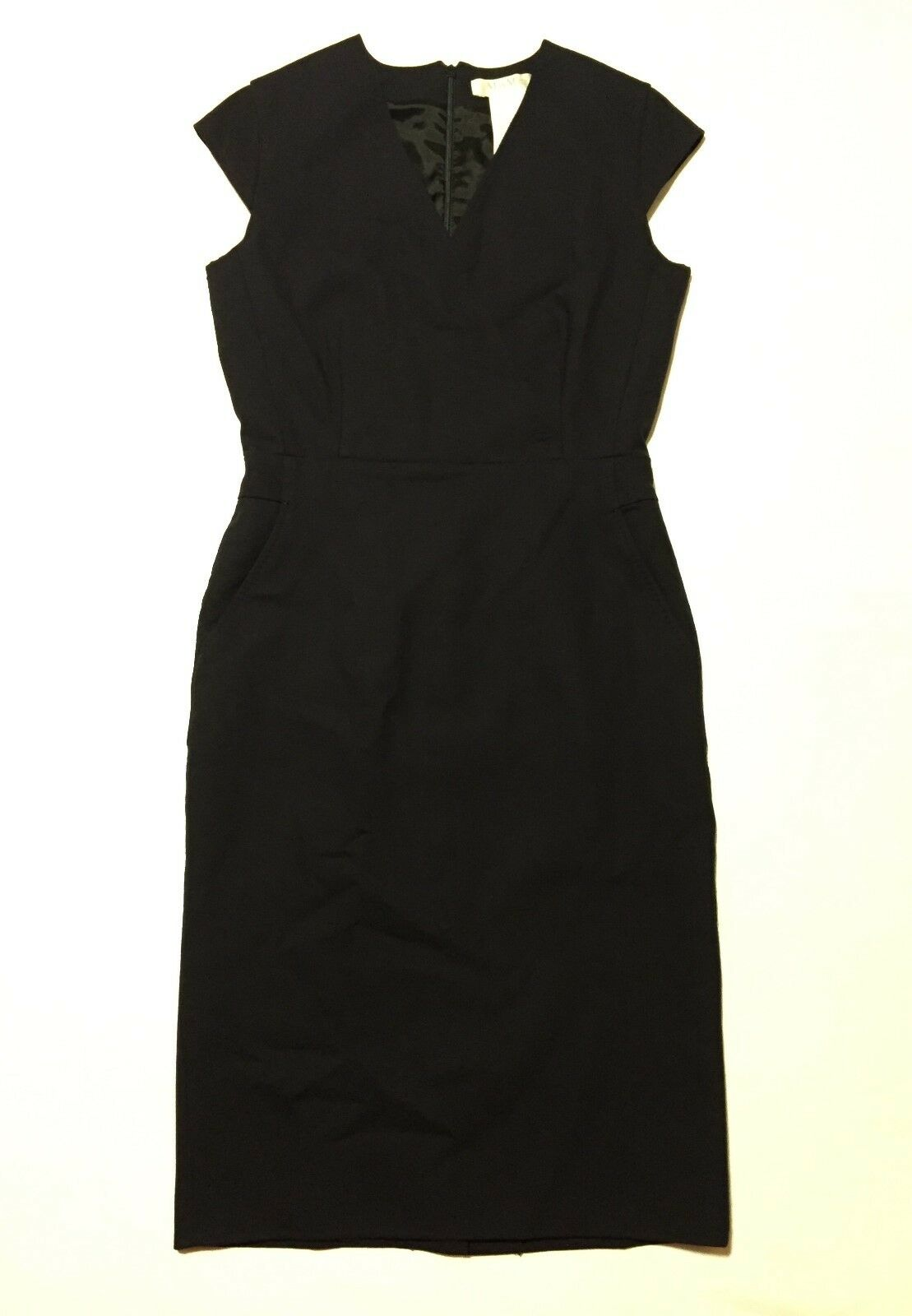 Max Mara Navy Fully Lined Sleeveless Woherren Sheath Dress Virgin Wool Blend Sz 6
