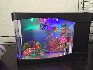 Mini Fish Tank Aquarium Colorful LED Light w Artificial Fish Home