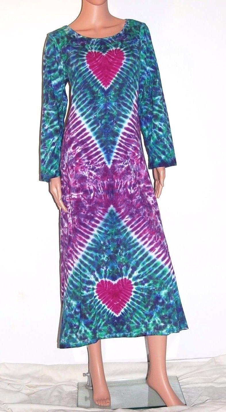 TIE DYE Woherren lila Hearts Long Sleeve Dress grateful dead sm med lg xl 2X 3X