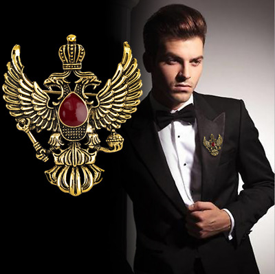 AN KINGPiiN Double Headed Eagle with Winged Stone Detailing Lapel Pin Jacket Gift Party Shirt Collar,Costume Pin Accessories for Men Brooch