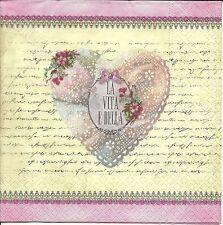 6 Servietten Napkins Herzen - Rosen - Liebe - Poesie - la Vita e Belle - lv045