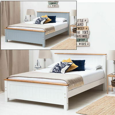 New 4ft6 Double Wooden Pine White Kids Bed Frame with Mattress Option