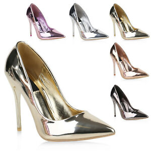 Spitze Damen Pumps High Heels Metallic Lack Stilettos Party 820383 Schuhe