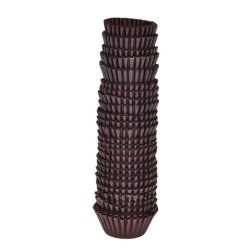 500x Mini Chocolate Paper Liners Baking Cupcake Cases Muffin Cake Solid ColoWZBH
