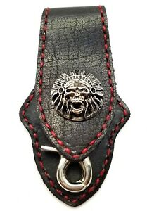 Biker-Skull-Trucker-Red-Stitch-Black-Leather-Belt-Clip-Keychain-Key-Holder