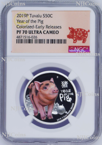 2019 P Australia Silver Lunar Year of the PIG NGC MS 70 1//2 oz Coin ER Perfect