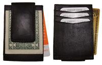 Front Pocket Genuine Leather Magnetic Money Clip Card-id Holder Black Strong