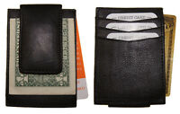 Front Pocket Genuine Leather Magnetic Money Clip Card-id Holder Black Strong