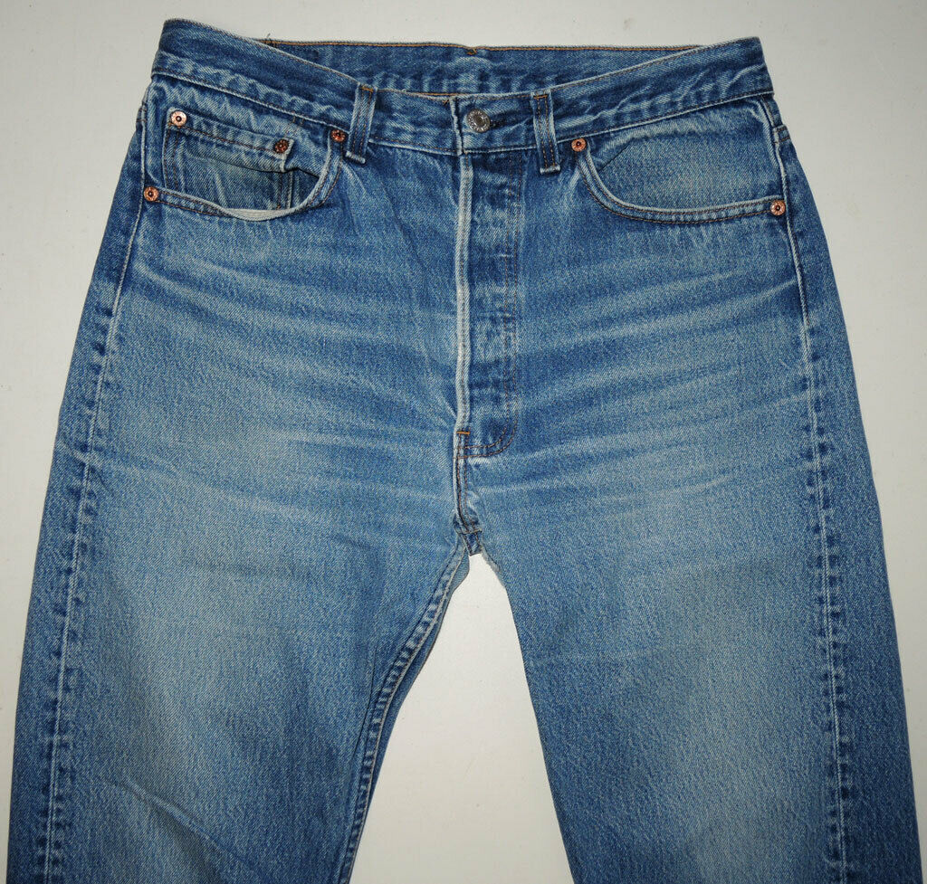 Vtg 90s Levi's 501 Jeans Made In USA Faded 33x28.… - image 3