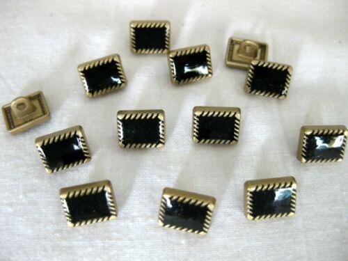 K80.4 Muster7 rechteckig ca.10 x 8mm 10 Metall-Knöpfe gold-schwarz