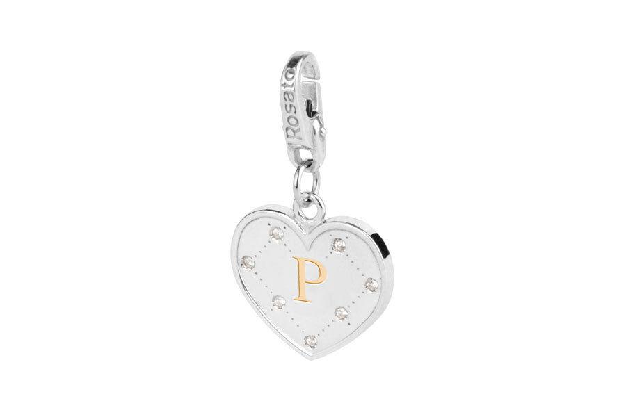 Ciondolo lettera P pinkto Charm MY Alphabet silver zirconi AL016