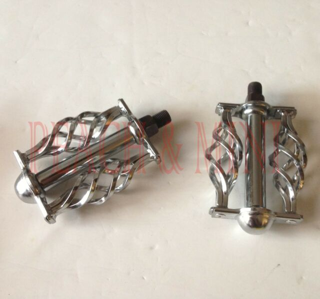 "Bicycle BMX  Twisted Pedals W/Cage 1/2"" Chrome.Lowrider Beach Cruiser Road Bike."