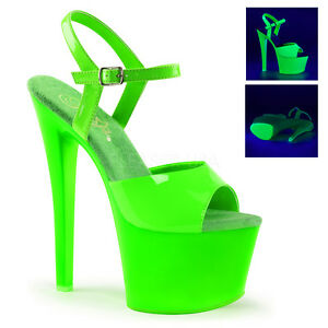 PLEASER SKY-309UV Sexy Blacklight UV Neon Green Platform 7