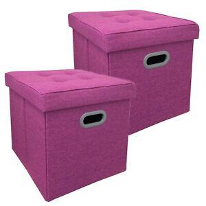 2er-Set-Sitzhocker-Faltbar-Beere-Meliert-Polyester-Sitzwuerfel-Stauraum-Hocker