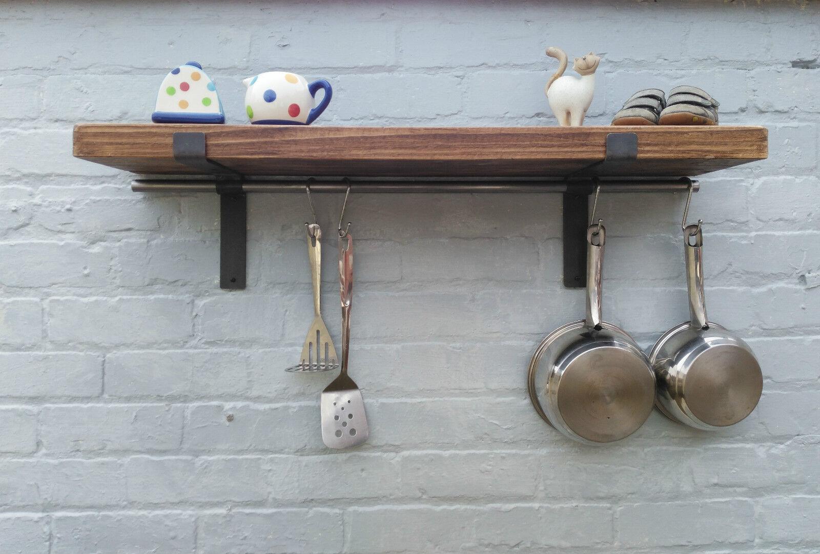 Casserole Présentoir Pan Cintre étagère Rustique En Bois étagère De Cuisine 22 cm deep