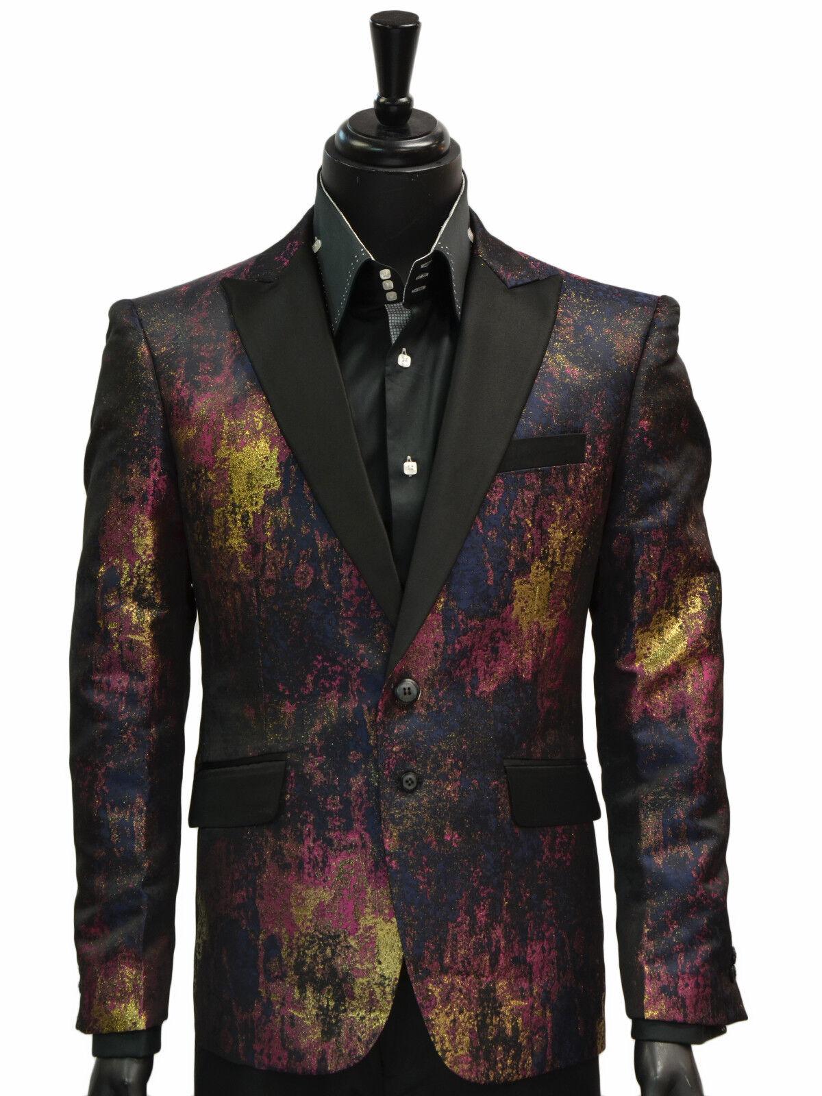 Angelino  Herren Navy Gold Multicolor Paint Splatter Dress Casual Slim Fun Blazer