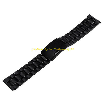 Unisex Black Stainless Steel Solid Clasp Buckle Watch Band Strap Straight End