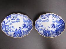 ROYAL CROWN DERBY BLUE MIKADO HTF 2 oval  smallsmall nut dishes fine gold trim