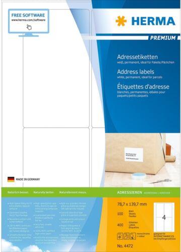 Adress-Etiketten 78,7 x 139,7 mm, für Pakete / Päckchen, HERMA Premium 4472