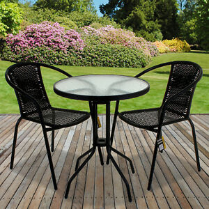 Rattan 3 Piece Glass Table Set Cafe Bistro Stacking Chair Garden