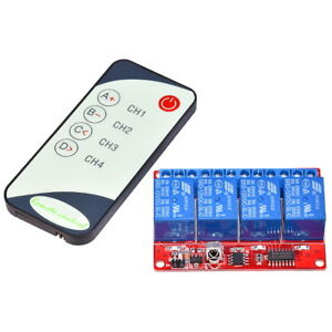 4-Channel-12V-Relay-Module-with-IR-Infrared-Remote-Control-Fernbedienung-Relais