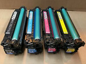 HP-Colour-LaserJet-CP3525-CM3530-HP-Genuine-Complete-Part-Used-Toner-Set