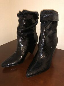 da1ceb806d0f Image is loading Guess-Black-Sequin-Cone-Heeled-Booties-Nakitta-Size-
