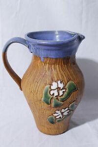 Vtg-Ken-Poole-Rockhouse-Pottery-Seagrove-NC-Hand-Thrown-Floral-Jug-Vase-Pitcher