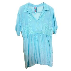 Johnny-Was-Large-Solid-Blue-Floral-Embroidered-Blouse-Tunic-Short-Sleeve-B22
