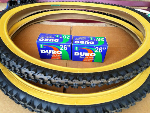 "26x2.10 DURO MOUNTAIN BIKE TIRE SET /& 2-26/"" DURO INNER TUBES *GUM WALL NEW"