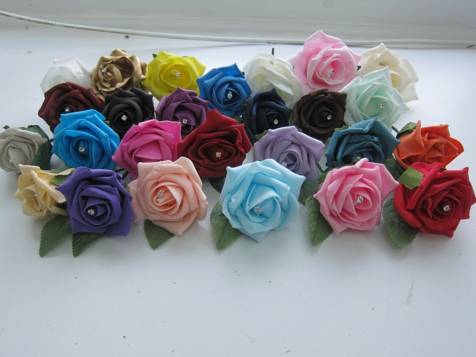 100 Diamante Rainbow Mixed Roses Wedding Flowers Buttonholes Artifical with Pins