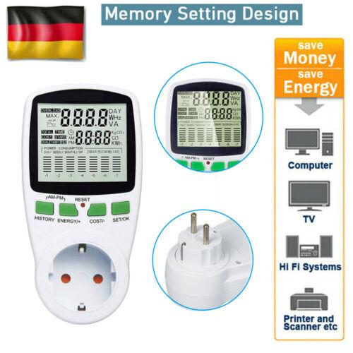 1X Leistungsmesser Wattmeter Stromzähler Steckdose Energiemonitor Stromverbrauch