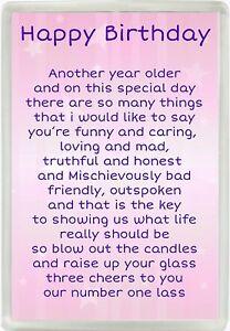Happy Birthday Poem Jumbo Magnet Ideal Female Friend Birthday Gift