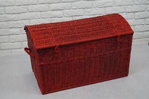 Wicker Chest Storage Trunk Solution Willow Box Toy Blanket