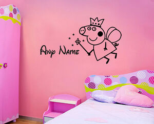 Stickers Cameretta Disney : Peppa pig name wall sticker disney childrens bedroom vinyl decal