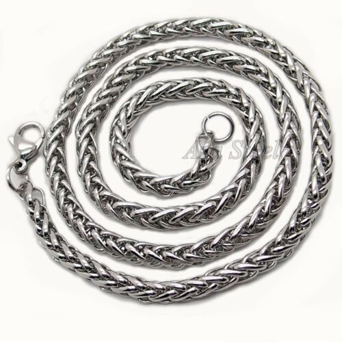 """3//4//5//6MM 18-36/""""  MENS Silver Stainless Steel Wheat Braided Chain Necklace"""