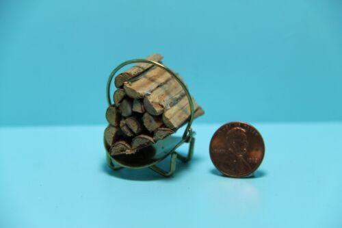 Dollhouse Miniature Fireplace Brass Log Holder with Bundle of Logs ~ IM65424//705