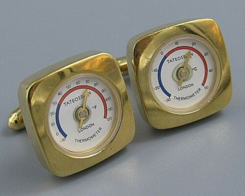 WORKING Thermometer Cufflinks Made in Germany Worldtemp original box Unique Vintage Weatherman Forecast celsius Fahrenheit